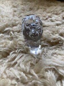 STEUBEN Crystal LION Leo Hand Cooler Paperweight Figurine Signed