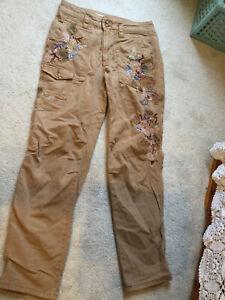 Anthropologie Women's The Wanderer Khaki Pants Floral Embellished Size 25