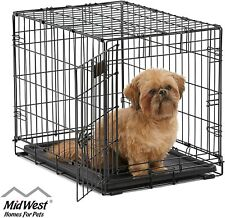 "24"" Midwest iCrate Small Pet Dog Metal Cage W/ Single Door Folding Kennel Crate"