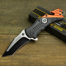 """7 1/2"""" Spring Assisted Open EMT Orange/Black Emergency Rescue Tactical Knife"""