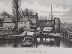 1895 Antique print Watergate, Norwich, Norfolk. Ideal for framing. 712
