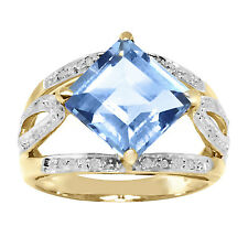 Natural 7.0ct Blue Topaz & 12 Diamond 9ct 9K Solid Gold Ring - Bravo Jewellery