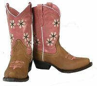 9614a7bc52f Girls Floral Cowboy Boots Pink Genuine Leather Kids Western Wear ...