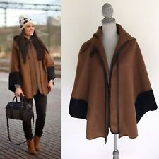 Zara Womens Hooded Combination Winter Cloak Cape - Size Medium