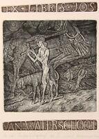 THE DREAMS OF FAUN Original Etching by Leonid STROGANOV, Russian Ex Libris Artis