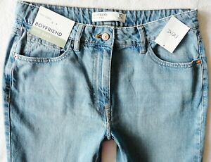 BNWT NEXT Relaxed Boyfit mid blue vintage wash tapered leg mid rise jeans R L XL