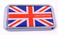 "Great Britain British rectanguglar Chrome Emblem 3D Car Decal Sticker 3"" x 1.75"""