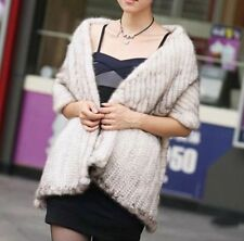 100% Real Knit Mink Fur Scarf Cape Shawl Wrap Stole Coat Evening Spring Fashion