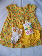 Girls Gymboree LOT 4pc Yellow Dress Socks Clips Outfit Set Sz 12-18M Months
