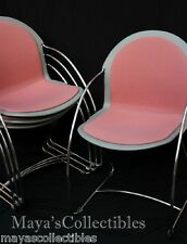 Mid Century Modern Vintage Steelcase Chairs Chrome Frame Stackable Set of 4