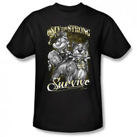 Popeye Only The Strong Survive Gangster Licensed Adult T Shirt