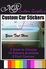 CUSTOM TEXT CAR STICKER 3 Sizes, 12 Colours, 5 Fonts, Any Lettering, Vinyl Decal