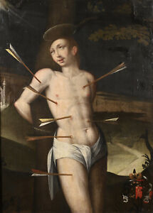 17th CENTURY HUGE FRENCH OLD MASTER OIL CANVAS - SAINT SEBASTIAN SHOT WITH ARROW