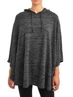 NWT - Time and Tru Women's Hooded Fashion Knit Poncho - Black Heather - 2XL/3XL