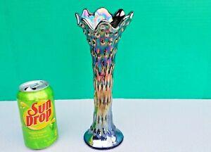 "Antique Fenton Blue RUSTIC Carnival Glass 10-1/4"" Swung Vase XLNT IRIDESCENCE"