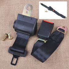 Black 2 Point Retractable Auto Car Safety Seat Belt Buckle Universal Adjustable