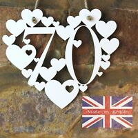 70th Birthday Gift White Love wall hanging heart decoration 70 Seventy sign