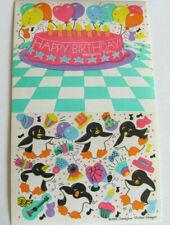 Rare Vtg 80's Sandylion Happy Birthday Penguin Party Maxi Sticker Sheet