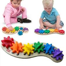 Wooden Kids Rainbow Caterpillar Gears Cog Baby Toddler Early Learning Toy New LA