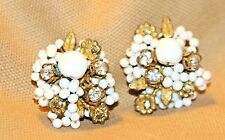 VINTAGE DeMARIO BEADED  CLIP EARRINGS