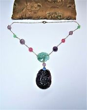 Old Chinese jade amethyst pendant /beads & glass beads necklace