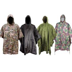 PONCHO WATERPROOF RIPSTOP HOODED SHELTER MENS FESTIVAL RAIN COAT ARMY CAMO