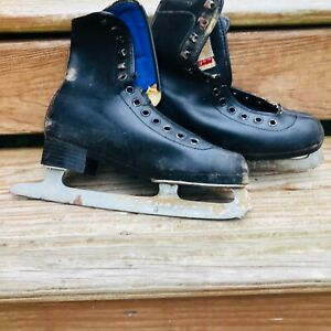Vtg mens CCM Black leather Ice Skates Hockey Winter Christmas Decor
