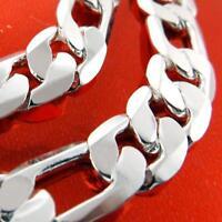 Men's Bracelet Bangle Real 925 Sterling Silver S/F Solid Heavy Link Design