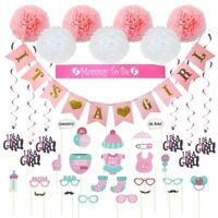 Baby Shower Decorations 40 pcs Kit for Girl Pink It's a Girl Mommy to be Banner
