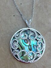 Round Pendant Necklace 18 Inches Rhodium Plated Abalone Cubic Zirconia
