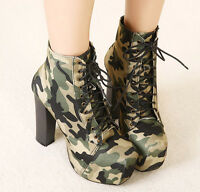 ladies OL Camouflage Lace Up High Chunky Heel Ankle Boots Platform Shoes