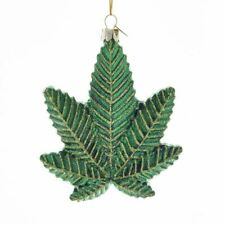 "KURT ADLER  4.25"" GLASS CANNABIS LEAF MARIJUANA POT LEAF CHRISTMAS ORNAMENT"