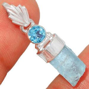 Aquamarine Rough & Blue Topaz 925 Sterling Silver Pendant Jewelry BP5926