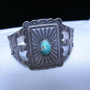 Vtg Bell  Sterling Silver Turquoise Fred Harvey Era Stamped Bracelet 26.6g #J720