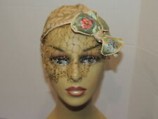 1930's Brocade Cap / Hat w Hand Painted Bow Sm - Med