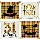 Halloween Throw Pillow Covers 18x18 Set of 4 Happy Halloween Decor Buffalo Plaid