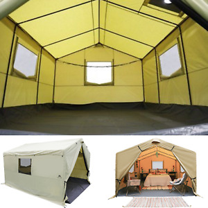 Canvas Wall Tent 12'X10' Camping Hunting Shelter House Frame Home w/ Stove Jack