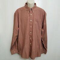 LL Bean Mens Oxford Shirt XXL Red Brown Plaid Button Down Long Sleeve Cotton