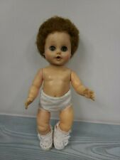 """Vintage Eegee Baby Doll 11"""" Tall Sleep Eyes Open Mouth Green Brown Hair"""