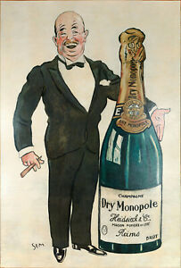 Huile sur Toile - SEM - Champagne Dry Monopole - Charles Heidsieck - Reims -1927