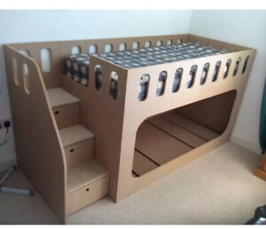Childrens Kids Custom Bunk Beds With Stairs, With 2 Mattresses