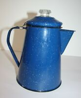 Blue Speckled Enamel Outdoor Stovetop Coffee Pot Camping 8 Cups