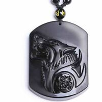 Carved Wolf Head Pendant Necklace Black Men Women Beads Jewelry Gifts