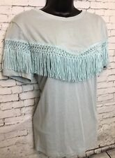 NEW NEXT 14 Mint Green Short Sleeve Fringe Tassel Detail T-shirt Tunic Top