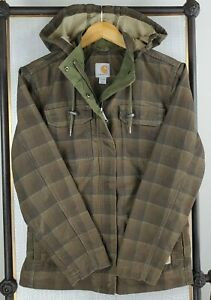CARHARTT Womens Size Small Fargo Jacket Brown Plaid Insulated Canvas Jacket Coat