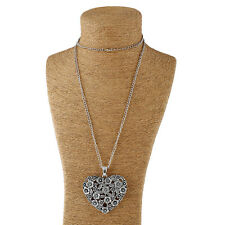 Large abstract metal heart shaped pendant & long chain necklace silver lagenlook