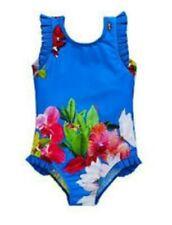 Ted Baker girls blue floral Swim Suit / swimwear. 18-24 Months. Designer