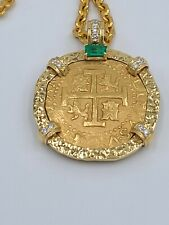 Peru Lima 8 Escudo 1713/2 Mounted 1715 Fleet Gold Treasure by shipwreckcoins.com