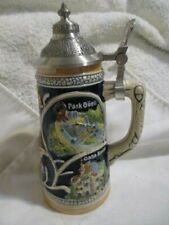 """Barcelona Mug Collection Hand Painted & Made .5 L 6 1/2"""" T Beer Stein Lidded"""