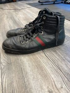 Gucci  Black GG Leather High Top Sneakers Size 10 US